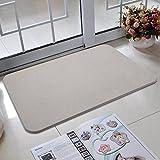 BATHWA Diatomit Badematte, Badteppich, Rutschfest, schnell trocknend und antibakteriell aus Kieselgur ALS Duschvorlage/Badezimmermatte (Grau)