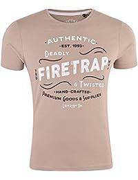 Firetrap Men's Designer Signature Logo Print Short Sleeved Shirt Top