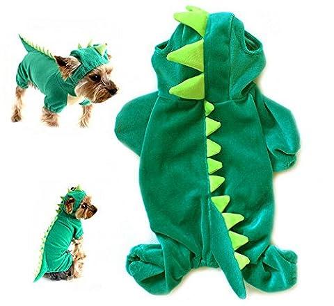 Yunt Kostuem Pluesch-Dinosaurier-Entwurf Haustier Hund Bekleidung Jumpsuit Gruen(Large) (Kleiner Hund Kostüme)