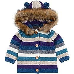 Abrigo Bebe Recien Nacido, Zolimx Bebé Niños Niñas Suéter a Rayas Capucha de Punto Tops Ropa de Abrigo Caliente