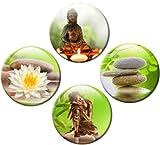 guma magneticum 2516Frigorífico Imanes Buda Juego de 4Bambú Natural Diámetro 50mm verdes Imanes con Wellness Diseño