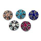 Souarts Gemischte Runde Blume Click Button mit Strass 4.5mm Druckknöpfe Set 5 Stücke