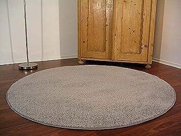 Teppich rund beige  Teppich Hochflor Shaggy Cottage Grau Rund in 7 Größen: Amazon.de ...