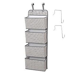 Hanging Closet Organizer, 4-Pockets Wall Mount/Over Door Storage for Toys, Purses, Keys, Sunglasses - Grey