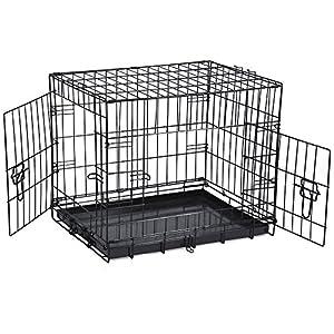 SavingPlus 2 Doors Folding Metal Dog Crate Pet Cage Puppy Carrier