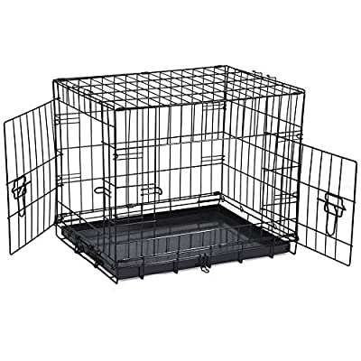 SavingPlus 2 Doors Folding Metal Dog Crate Pet Cage Puppy Carrier from SavingPlus