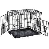 """SavingPlus 2 Doors Folding Metal Dog Crate Pet Cage Puppy Carrier (Small 24"""")"""