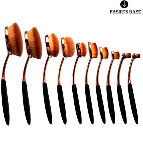 Fashion Base® Nouveau professionnel 10 pcs/Ensemble de brosse à dents Forme ovale Lot de brosse de maquillage professionnel Crème Fond de teint poudre Brosse Kits (Rose d'or)