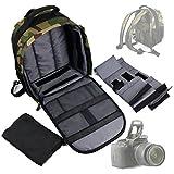 Sac de transport, à dos et de rangement pour SLR / reflex Canon EOS Rebel T1i, T2i, T3, T3i, T4i et SX30, 600D, 350D et Kiss X50 appareil photo et accessoires - imprimé camouflage