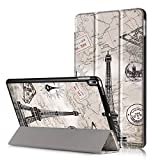 JGOO Coque Coque iPad Pro 10 5 Pouces Slim Fit Smart Housse Case Coque Etui de Protection en PU Cuir avec Support Multi Angles et Veille Automatique pour iPad Pro 10.5'', Tour Eiffel