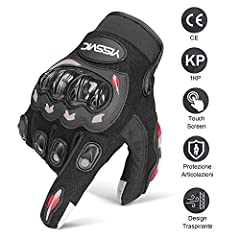 Idea Regalo - YISSVIC Guanti da Moto Guanti Moto Marchio CE 1KP Touchscreen Antiscivolo con Fori Traspiranti Uomo Per Arrampicata Alpinismo Escursioni -Nero L