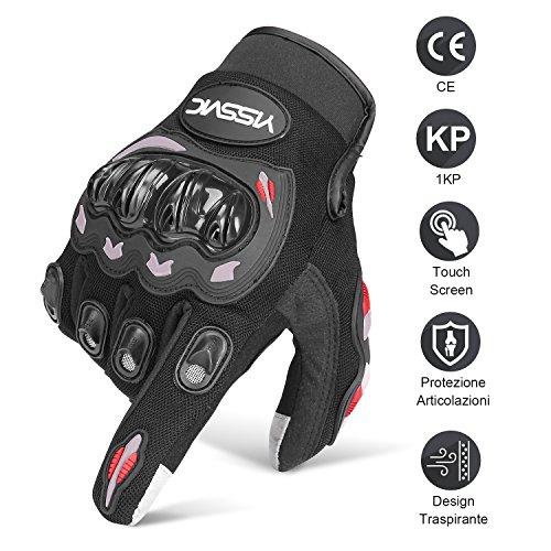 YISSVIC Guanti da Moto Estivi Guanti Moto Marchio CE 1KP Touchscreen Antiscivolo con Fori Traspiranti Uomo Per Arrampicata Alpinismo Escursioni -Nero L