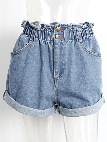 Simplee Apparel Damen Denim Shorts High Waist Hot Pants Vintage Baggy Basic Kurz Jeans Hose Blau