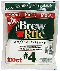Brew Rite Cone Coffee Filters, White Paper,