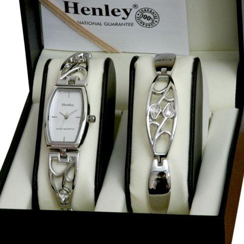 henley rmb-3.1 - reloj analógico de cuarzo para mujer con correa de acero inoxidable, color plateado