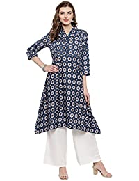 Sera Women's Ethnic Wear Printed A-Line Kurta With Palazzo Mandarin Collar/Three-Quarter Sleeves Knee Length Kurta