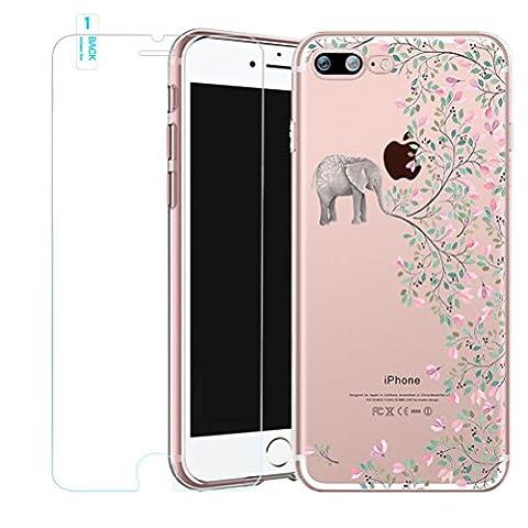 Coque iPhone SE/5/5s avec Film Verre trempé, Bestsky Gel Silicone Souple Solide Anti Choc Coque Transparente avec Fantaisie Motif Fleurs pour Apple iPhone SE/5/5s, éléphant