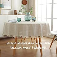 HONUTIGE Tablecloth, Round Cotton Linen Table Cover Dust-Proof Table Cloth with Tassel for Kitchen Dining Rest