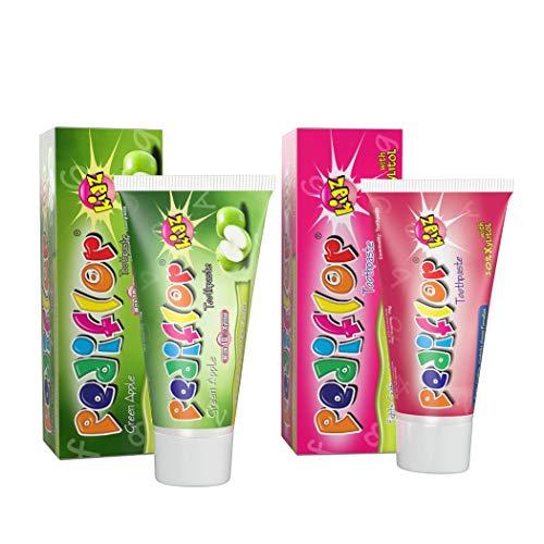 Pediflor kidz Combo Pack of Bubble Gum & Green Apple Toothpaste