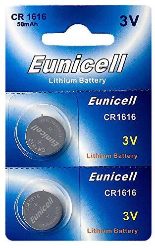 Eunicell 2 x CR1616 3V Lithium Knopfzelle 50 mAh (1 Blistercard a 2 Batterien) EINWEG Markenware Cr1616 3v Lithium-batterie