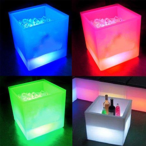 RGB-LED Eiswürfelbehälter Flaschenkühler mit Schmelzwasser-Auffang