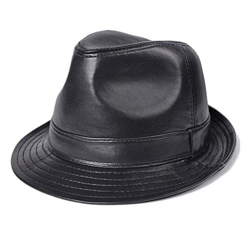 Tong Heng Sheng Firm Fedora Chapeaux en Cuir Trilby Hat Panama Style Jazz Cap pour Homme
