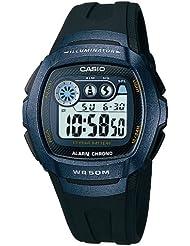CASIO Quarz W-210-1BVES - Reloj de caballero de cuarzo, correa de resina color negro (con cronómetro, alarma, luz)