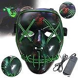 BESTZY LED Halloween Masken, Erschreckend LED leuchten Maske Reinigung Gesicht Maske EL Draht für...
