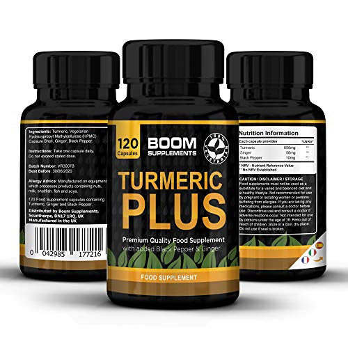Turmeric Plus 600mg | maximum power | 120 turmeric capsules with black pepper | Supply for 4 COMPLETE months | To lose weight, anti-inflammatory and natural antioxidant