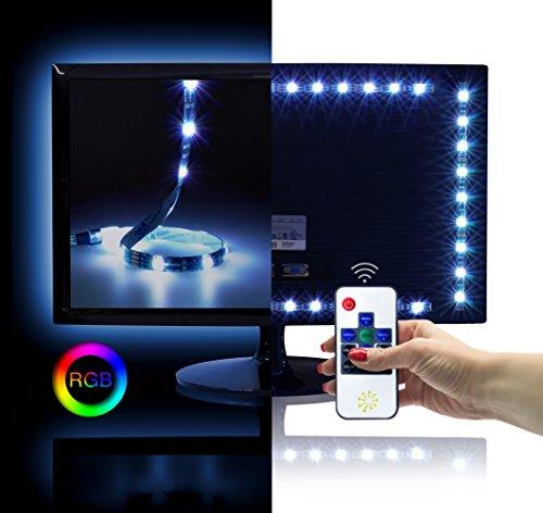 RGB LED TV Fondo Juego para 26–50pulgadas (50x 40cm, 30LED/M, 12V, IP20), incluye radiocontrol y fuente de alimentación