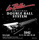 Labella LS942 Jeu de Cordes à double boule pour Guitare Electrique 9/42 Extra Light