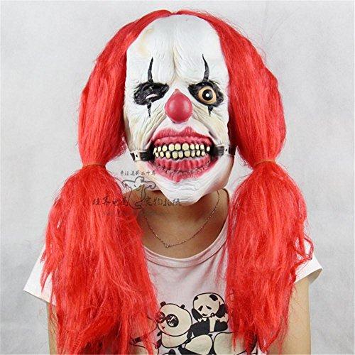 SQCOOL Red Braids Clown Maske Dummkopf Halloween Show Requisiten Weiche Kleber Horror Funny (Und Big Kostüm Halloween Rob)