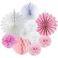 SUNBEAUTY 11 pcs Decoración Pompon de Papel Rosa Rosette Blanco para el Aniversario, Cumpleaños La Boda de Baby Shower Home Supermercado