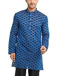 SHOWOFF Men's Cotton Full Sleeve Regular Fit Self Design Blue Kurtha (Utsavkurtha091)