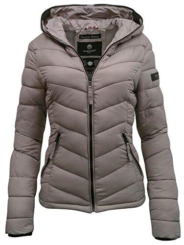 Marikoo Kuala Steppjacke Damen mit Kapuze - Übergangsjacke Frühjahr Fashion Windbreaker Jacke Frauen - Grau/Gr. XL