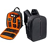 #5: House of Quirk Camera Bag Camera Backpack Waterproof Fabric, Anyprize SLR Camera, Lens, Tripod and Camera Accessories with Rain Cover Protector (Orange)