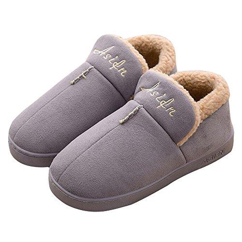 Pingxia Morbide Scarpe di Cotone Pantofole Inverno Autunno Interno Casa Slippers(Grigio;L:EU 39-40)