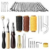 YISUN 48 Pieces DIY Leather Craft Hand Tools Stamping Punch Tool Kit Sewing Repair Tools
