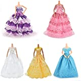 BESTIM INCUK 5-Piece Doll Accessories Handmade Fashion Party Gown Wedding Dresses & Clothes for Barbie Doll