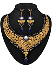 DeAaaStyle Gold Plated Necklace Set For Women/Girls For Traditional Wedding Earring Set With Blue Stone