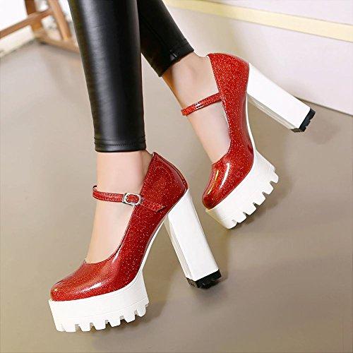 MissSaSa Donna Scarpe col Tacco Alro Plateau Pumps Moda Rosso