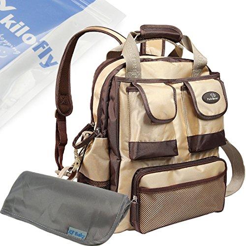 kf-baby-large-travel-backpack-diaper-bag-khaki-changing-pad-value-combo-set