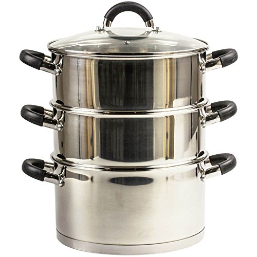 Kitchen Food Steamer Healthy Cooking 3 Tier Food Vegetable Cookware Glass Lids Wilsons Direct (20cm Steamer 3L)