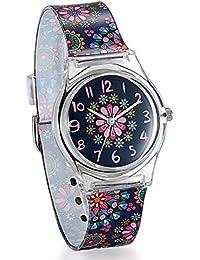 Reloj de Niña Mujer Reloj Analogico de Colores Floral Flores, Reloj Transparente Correa de Silicona Para Chicas, Buen Regalo de Navidad -Avaner