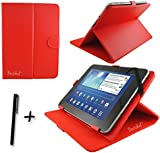 Red PU Leather Case Cover Stand for HANNSPREE HANNSPAD 10.1