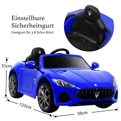 RC Auto kaufen Kinderauto Bild 4: UEnjoy 12V Kinderauto Maserati Grancabrio Elektronik Kinderauto Fahrt auf Auto mit Fernbedienung, Federung, MP3-Player, Beleuchtung, Blau*