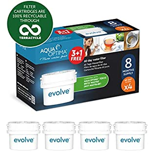 Aqua Optima Evolve 8 month pack, 4 x 60 day water filters - Fit BRITA* Maxtra* (not Maxtra+*) - EVD415
