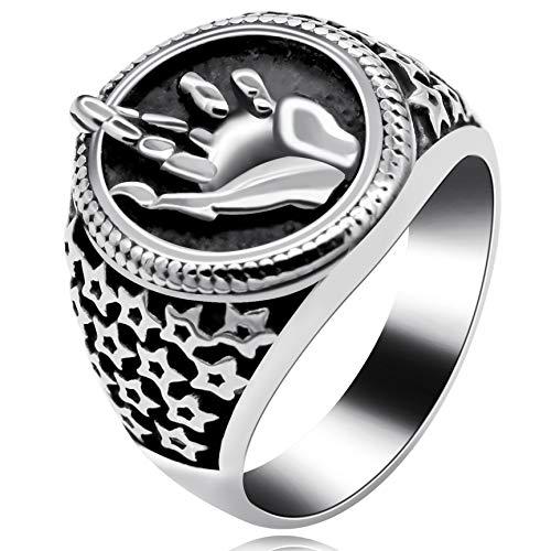 Uloveido Hamsa Hand von Fatima mit Evil Eye Ring, schwarzer Edelstahl Herren Vintage Star Bike Ring für Herren Jungen Vaters Geschenke Y518 (Größe 62 (19.7)) (Ring Bike)