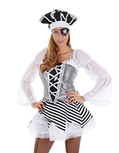 (erdbeerloft - Damen Karneval Kostüm- Pirat Piratin Piratenbraut Hut Kleid Tüllrock Augenklappe, schwarz weiß, 34-38 One Size)