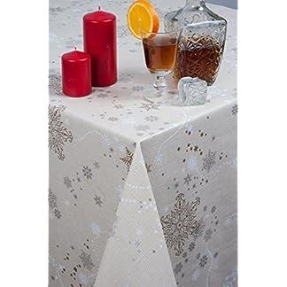 WDJhome – Mantel navideño, hule, en relieve, temática de copos de nieve, 140 x 200 cm, se limpia con un paño
